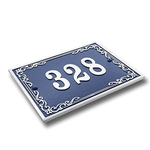 - House Number Address Plaque Vintage Style. Cast Metal Personalised Yard Or Mailbox Sign In Blue With Oodles Of Number And Letter Options. Handmade In England By The Metal Foundry Just For You