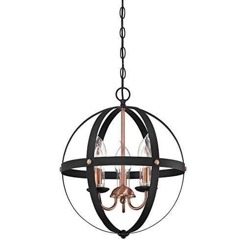 Westinghouse Lighting 6360700 Stella Mira Three-Light Chandelier, Matte Black Finish with Washed Copper Accents and Clear Glass Candle Covers Outdoor Pendant, ()