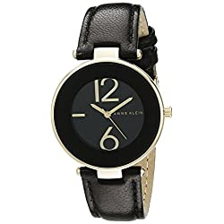 Anne Klein Women's AK/1064BKBK Watch with Black Leather Band