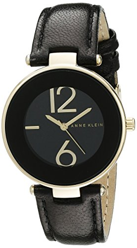 Anne Klein Womens AK1064BKBK Watch with Black Leather Band