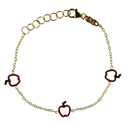 18K Yellow Gold Apple bracelet 5.6 inch with extra rings starting at 4.8 inch by Amalia