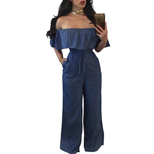 M.Brock Women's Off Shoulder Ruffle Denim Jean Wide Leg Bottom Belted Jumpsuit - Belted Jeans Wide