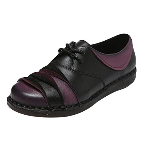 Leather Trim Candy (Mordenmiss Women's Leisure Candy Color Block Flat Sneaker Lace Up Trim Pumps 38 Black)