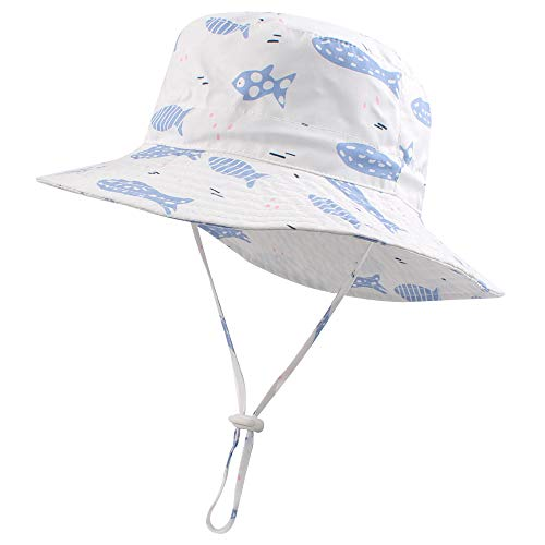 Baby Sun Protection Bucket Hat for Toddler Boys Girls Summer Shark Cap 3M-4T (White-Fish, L(2-4 T))