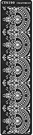 Fabric Crafting Border3 Reusable Painting Template for Journal Wall Wood 3x12 inches DIY Albums Floor CrafTreat Stencil Tile Home Decor Scrapbook Decoration and Printing on Paper
