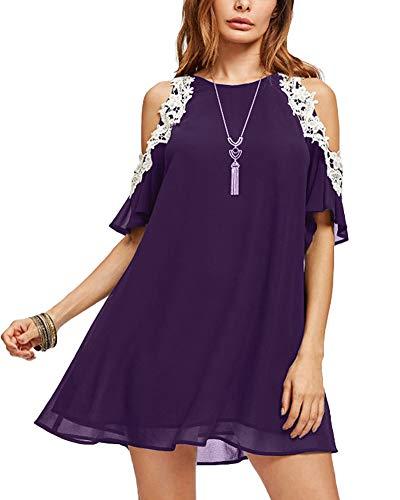 Roiii Women's Casual Chiffon Lace Dress Crewneck Solid Elegant Party Sundress Cold Sleeve Plus Size Dress (Large, Purple)
