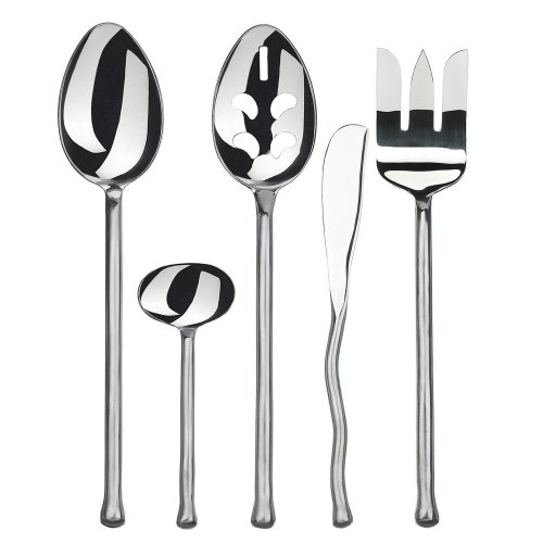 Gourmet Settings Exotique Platinum 5 pc Stainless Steel Hostess Set by Gourmet Settings