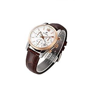 Men Luminous Chronograph Waterproof Synthetic Sapphire Leather Quartz Golden Watch