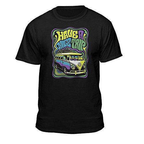 Teelocity Volkswagen VW Bus Van Have A Nice Trip Cool Hip Fitted T-Shirt (Large) (Hippy Van)