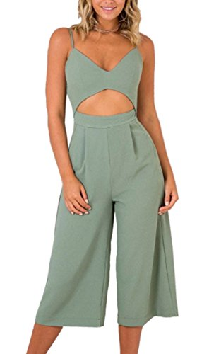 Angashion Womens Jumpsuits-V Neck Adjustable Spaghetti Strap Wide Leg Romper Outfit Pockets