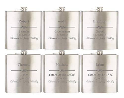 Gifts Infinity Personalized Set of 6 8oz Stainless Steel Groomsman, Best man, Groom Flask - Engraved]()