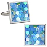 VIILOCK Mother of Pearl Mix Colorful Cufflinks Set with Gift Bag (Sky Blue)