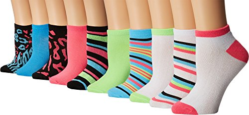 Steve Madden Baby Girl's 10-Pack Low Cut - Prints (Toddler/Little Kid/Big Kid) Neon Animal White Sock (Mix Acrylic Funky Socks)