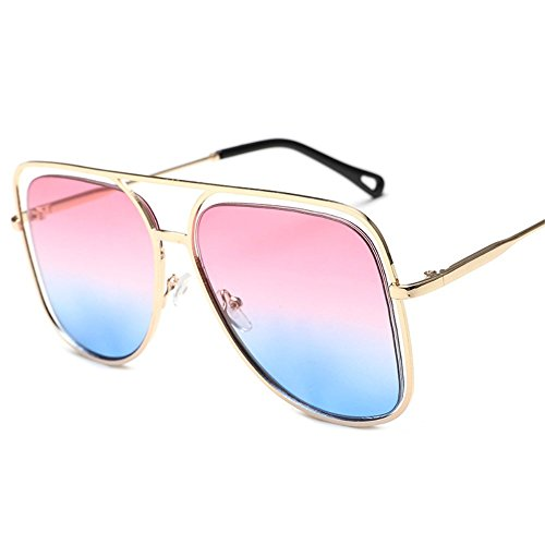 gafas de color Gafas de cuadrado sol de Gafas Polvo gran Azul Dorado Shop oceánico Marco y metálicas sol gafas sol coloridas de sol 6 ahuecadas coloridas individuales 6Eqx8