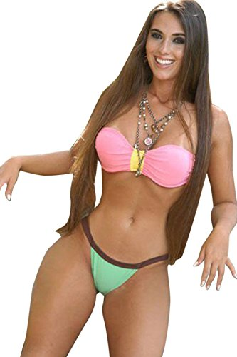 BYY Womens Pink Girlish Strapless Bandeau Bikini Swimsuit Size (Halloween Party Clubs Miami)