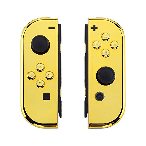 eXtremeRate Chrome Gold Joycon Handheld Controller Housing with Full Set Buttons, DIY Replacement...