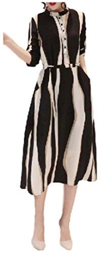 [アベック ブー] パーティー ドレス ワンピース 二次会 七分袖 ブラック バイカラー 襟付き レディース