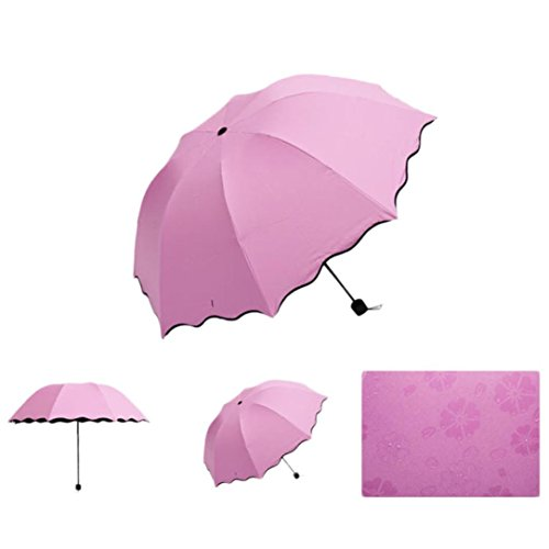 Umbrella, Robiear New Lady Princess Magic Flowers Dome Parasol Sun/Rain Folding Umbrella (Pink)
