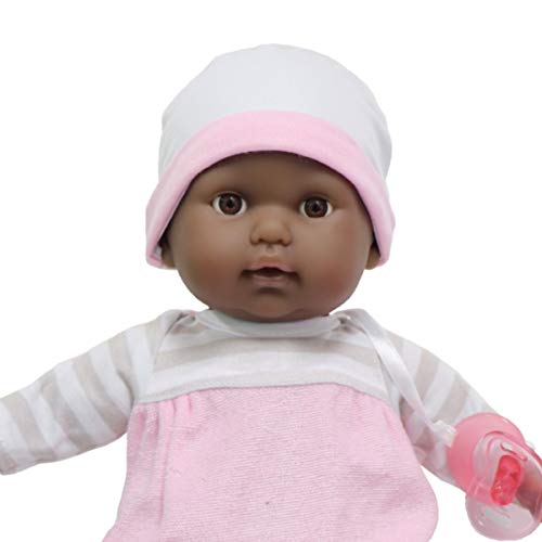 JC Toys 15″ Realistic Soft Body African American Baby Doll with Open/Close Eyes Berenguer Boutique | 10 Piece Gift Set with Bottle, Rattle, Pacifier & Accessories | Pink | Ages 2+