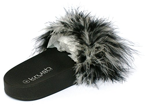 SHU CRAZY Womens Ladies Faux Fur Fluffy Slip On Flat Mules Summer Fashion Sliders Shoes - K86 Black RHalNbvXvv
