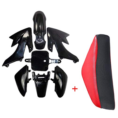 JCMOTO Plastic Body Fairing Kit and Tall Seat For Honda CRF XR CRF50 XR50 50s 50cc 70cc 110cc 125cc Dirt Pit Bike (Black+Red) (Fairing Body Plastic)