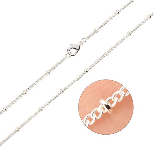 Wholesale 100 PCS Silver Plated Solid Brass Satellite Beaded Ball Curb Thin Chain Necklace Bulk for Jewelry Making 18-30 Inches (18 Inch ()