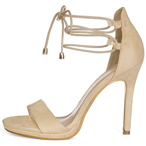 Lace faux Heels up Allegra Suede K Women Beige z7qEEnOZw