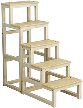STOOL Step Ladder Home Taburetes, taburete portátil, escalera de madera de 5 escalones, antideslizante, multifunción, biblioteca plegable, sala de estar, fácil de almacenar, carga máxima de 150 kg, 1: Amazon.es: Bricolaje y herramientas