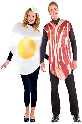 [Amscan 844276-55 Adults Bacon And Egg Costume - Breakfast Buddies - One Size Only] (Bacon And Egg Halloween Costume)