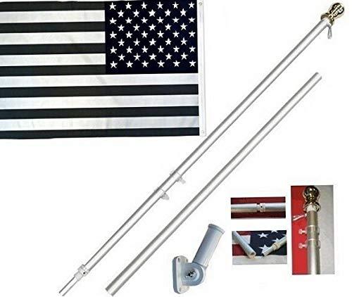 (Mikash Black White USA 3 x 5 FT Flag + 6 Ft Silver Spinning Tangle Free Pole + Bracket | Model FLG - 2671)