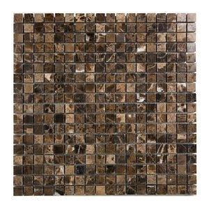 - 5/8 x 5/8 Emperador Marble Polished Mosaic Tiles for Backsplash, Shower Walls, Bathroom Floors