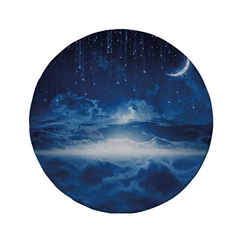 (Non-Slip Rubber Round Mouse Pad,Night,Heavenly Majestic Galaxy View Falling Stars Celestial Magical Cosmos Decorative,Navy Blue White)