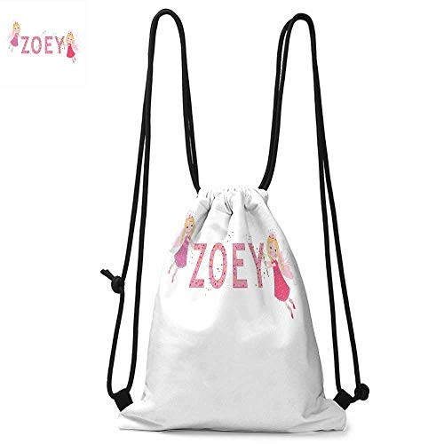 Zoey Easy to carry drawstring backpac Feminine Themed Baby Girl Name Magic Creatures Calligraphic Alphabet Letter Design Durable Drawstring Backpack W13.8 x L17.7 Inch Multicolor