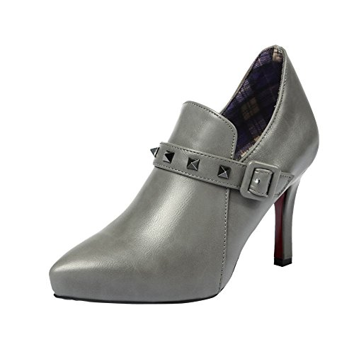 Studded Buckle Stiletto Ankle Carolbar Toe Heel Sexy Rivet Pointed Boots Dress Grey Womens High Date wIzqX
