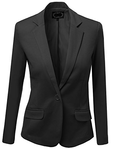 Basic Solid Slim Fit One Button Blazers Black Size L