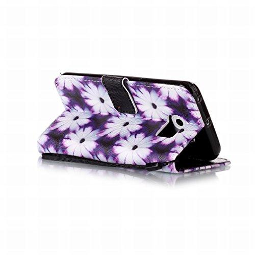 Yiizy Samsung Galaxy S6 Edge G925 Funda, Flor Púrpura Diseño Solapa Flip Billetera Carcasa Tapa Estuches Premium PU Cuero Cover Cáscara Bumper Protector Slim Piel Shell Case Stand Ranura para Tarjetas