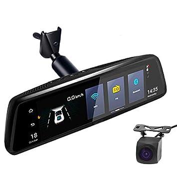 Cámara de Espejo retrovisor para Coche Android 4G de 10 Pulgadas, Full HD, 1080P, grabadora de vídeo, navegador GPS ADAS con Doble Lente DVR con Soporte: ...