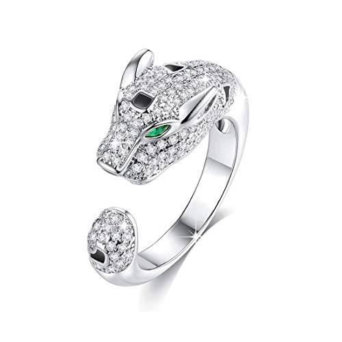 VICISION Women Statement Open Ring Panther Silver Plated Cubic Zirconia Jewelry Accessories 1 Piece- BVR3 -