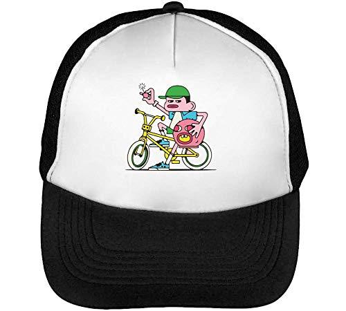 Bicycle Bomb Gorras Hombre Snapback Beisbol Negro Blanco