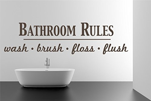 Bathroom Rules Wash Brush Floss Flush Quote Saying Wall Sticker Removable Home Decor Vinyl Decal Art (Brown, 17x65 inches) by The Decal Guru