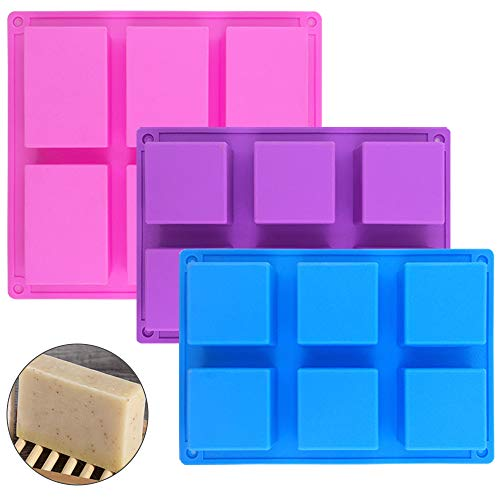 - 6 Cavities Silicone Soap Mold (3 Pack), SENHAI Baking Mold Cake Pan, Biscuit Chocolate Candy Molds Ice Cube Trays Handmade DIY - Pink, Blue, Purple (1 Rectangle & 2 Square)