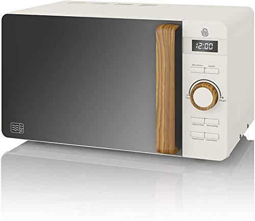 Swan-Nordic-Microondas-digital-20L-6-niveles-funcionamiento-800W-potencia-temporizador-30-min-facil-limpieza-modo-descongelar-diseno-moderno-tirador-efecto-madera-blanco-mate