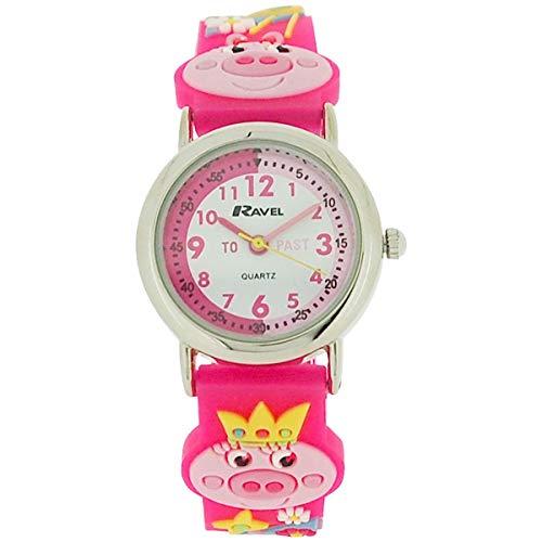 Ravel Girls-Kids 3D Little Miss Piggy Time Teacher White Dial Watch R1513.63 (Miss Piggy Watch)