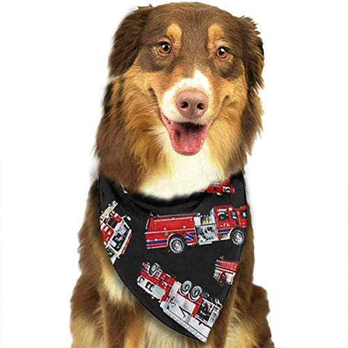 (Han Jun Hua Dog Pets Bandana Scarf Fire Engine Triangle Bibs Eco-Friendly Printing Kerchief Set Dogs Cats Pet Decor)
