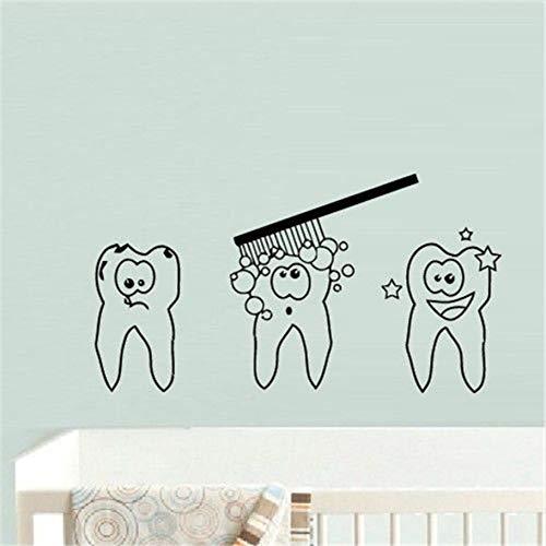 hwhz 43X78 cm Cute Cartoon Tooth Teeth Sticker Dentist Decal S Poster Vinyl Art Wall Decals Home Decor Mural ()