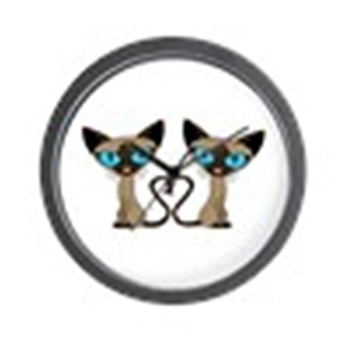 (CafePress - Cute Siamese Cats Tail Heart Wall Clock - Unique Decorative 10