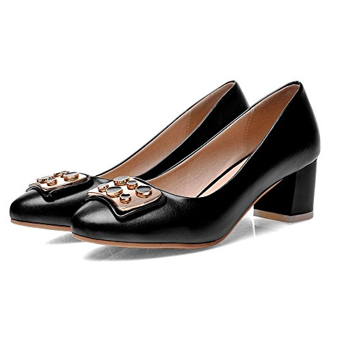 Allhqfashion Womens Tacco Largo In Gonnellino Rotondo Punta Chiusa Tira Su Pumps-shoes Nero