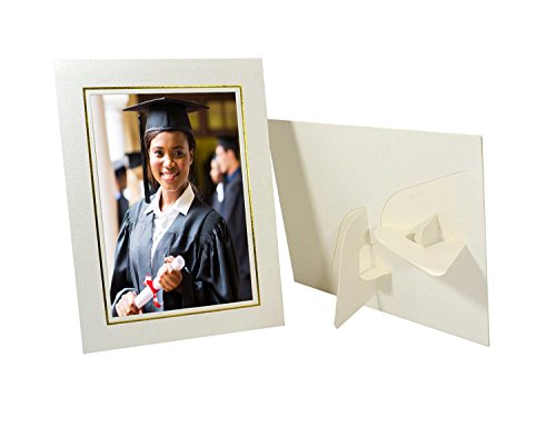 Golden State Art, Pack of 25, Cardboard Photo Easel Frame for 5x7 Photo, Ivory]()
