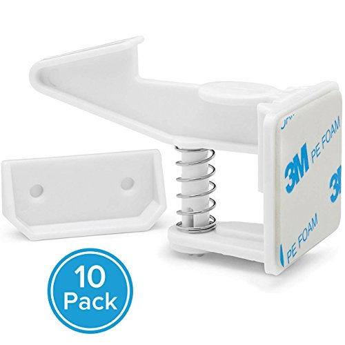 Cabinet Locks Child Safety by BelleBabyCo. - Baby Proof Latches and Catches Kit - 3M Adhesive, Removable, Invisible Spring Lock - For Cabinets, Cupboards and Drawers in the Home - No Drilling Needed