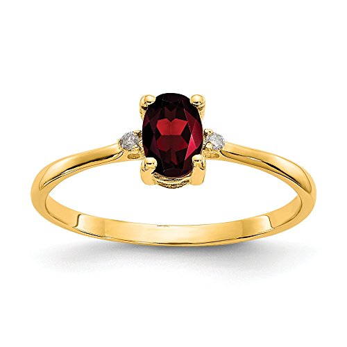 14k Yellow Gold Diamond Red Garnet Birthstone Band Ring Size 6.00 Stone January Oval Fine Jewelry Gifts For Women For Her